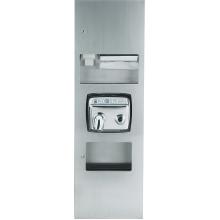 Встраиваемый блок с сушилкой для рук, диспенсерами для мыла и бумажных полотенец, контейнером для мусора Nofer Compact 12019.S матовый