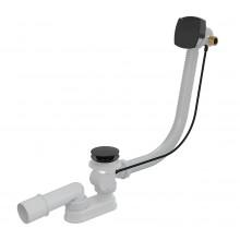 Сифон для ванны автомат с напуском воды через перелив, черный-мат AlcaPlast A564BLACK