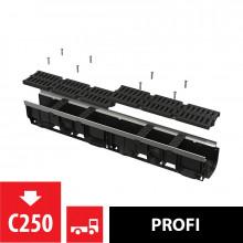 Дренажный канал 100 мм с металлической рамой и решеткой из композитного материала С250 AlcaPlast AVZ103-R403