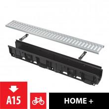 """Дренажный канал 100 мм с пластиковой рамой и оцинкованной решеткой """"C"""" профиль A15 AlcaPlast AVZ102-R102"""