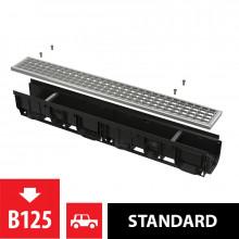 Дренажный канал 100 мм с пластиковой рамой и оцинкованной решеткой B125 AlcaPlast AVZ102-R103