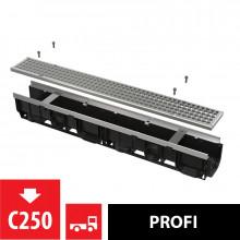 Дренажный канал 100 мм с металлической рамой и оцинкованной решеткой C250 AlcaPlast AVZ103-R104