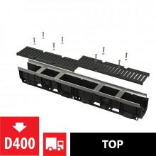 Дренажный канал 100 мм с металлической рамой и чугунной решеткой D400 AlcaPlast AVZ103-R201