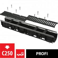 Дренажный канал 100 мм с металлической рамой и чугунной решеткой C250 AlcaPlast AVZ103-R202