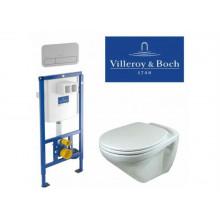 Комплект унитаз Villeroy&Boch Omnia Classic 7682 1001 с инсталляцией, сиденье Berges Slim 016003