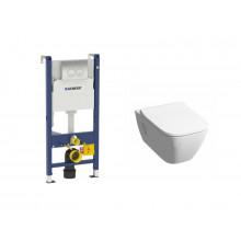 Комплект унитаз Rimfree подвесной KERAMAG SMYLE 205570000+571540000+458.124.21.1 с инсталляцией + клавиша + сиденье