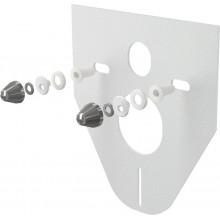 Звукоизоляционная плита для подвесного унитаза и для биде с принадлежностями и колпачками (хромированными) AlcaPlast M910CR