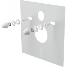 Звукоизоляционная плита для подвесного унитаза и для биде с принадлежностями и колпачками (белыми) AlcaPlast M930