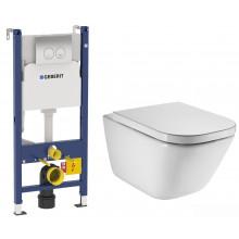 Подвесной унитаз с инсталляцией комплект Geberit Сет Duofix 458.124.21.1 +Roca Gap CleanRim 34647L000