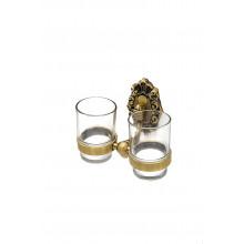 Держатель со стаканами настенный, двойной Milacio Valls MC.923.BR, бронза