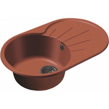 Кухонная овальная мойка GranFest GF-R750L 75х46 см, красный марс