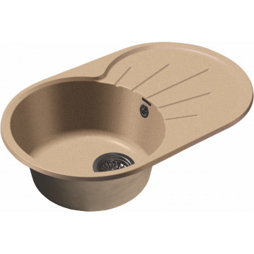 Кухонная овальная мойка GranFest GF-R750L 75х46 см, песок