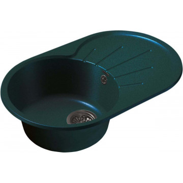 Кухонная овальная мойка GranFest GF-R750L 75х46 см, зеленый