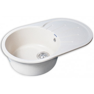 Кухонная овальная мойка GranFest GF-R750L 75х46 см, белый