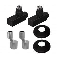 Комплект для подключения полотенцесушителей Lemark LM03412SBL квадратный чёрный