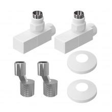 Комплект для подключения полотенцесушителей Lemark LM03412SW квадратный белый