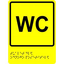 Тактильно-визуальный знак - Туалет для одного посетителя 150х200, текст Брайля, полистирол