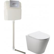 Унитаз приставной с бачком и кнопкой сыва+ крышка микролифт SantiLine SL-5020 + SL-02
