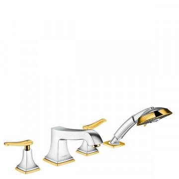 Смеситель Hansgrohe Metropol Classic 31441090 для ванны на 4 отверстия, хром/золото