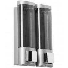 Двойной дозатор для мыла Nofer пластиковый белый 1000 мл. 03032.Т