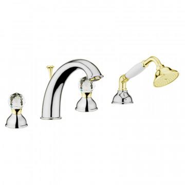 Смеситель на борт ванны Webert Karenina КА730101 Хром/золото/кристаллы Swarovski
