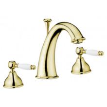 Смеситель для раковины Webert Dorian DO750101010 на 3 отверстия, с донным клапаном, золото