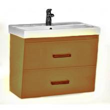 Тумба с раковиной Misty Джулия Qvatro 60 подвесная с 2 ящиками, цвет коричневый