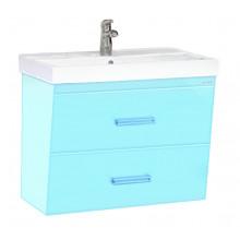 Тумба с раковиной Misty Джулия Qvatro 75 подвесная с 2 ящиками, цвет голубой